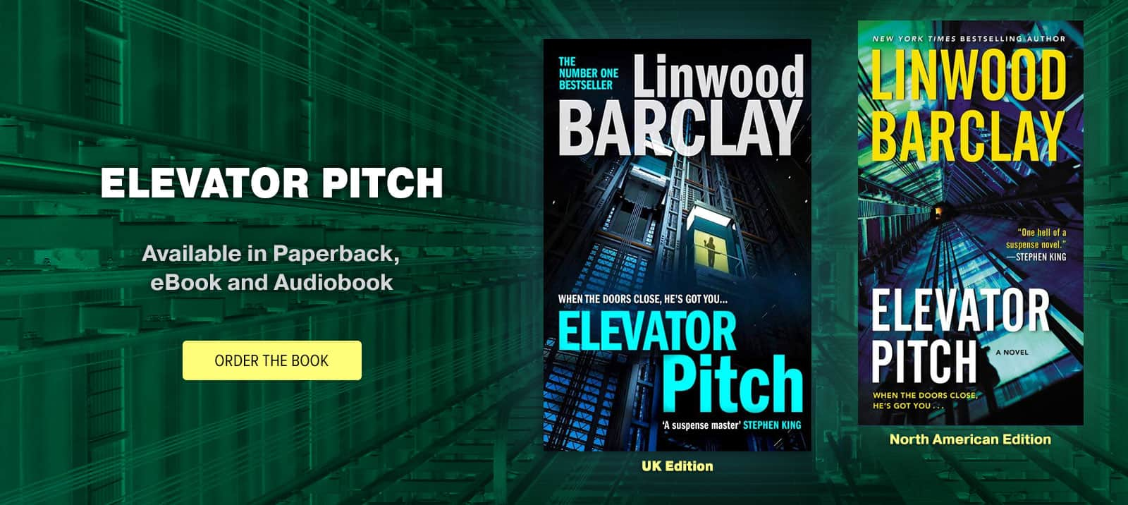 """Elevator Pitch"" by Linwood Barclay, now in Paperback, eBook and Audiobook"