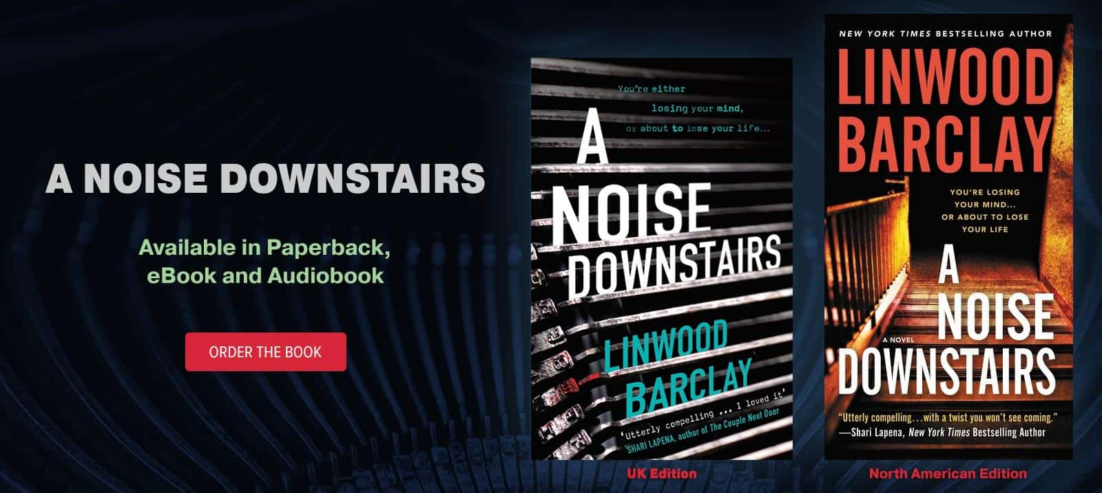 'A Noise Downstairs' by Linwood Barclay, Now in Paperback, eBook and Audiobook
